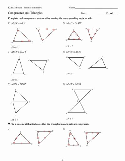 Congruent Triangles Worksheet with Answers Lovely 4 Congruence and Triangles Kuta software