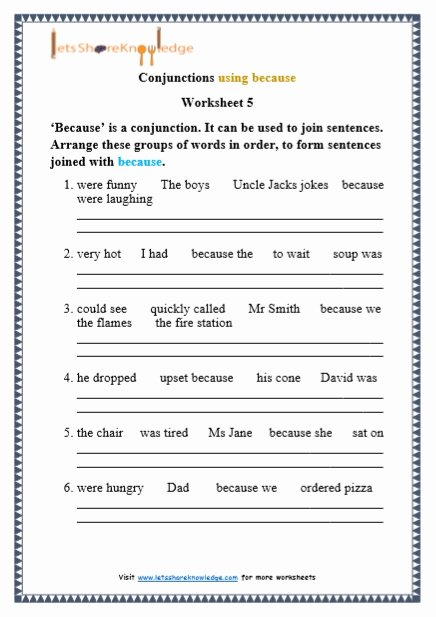 Conjunction Worksheets for Grade 3 Best Of Grade 1 Grammar Conjunctions Using because Printable