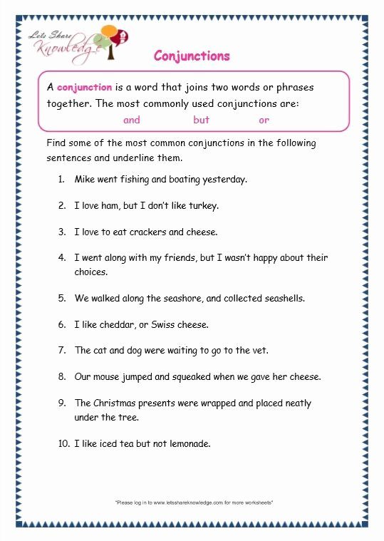Conjunction Worksheets for Grade 3 Free Grade 3 Grammar topic 19 Conjunctions Worksheets