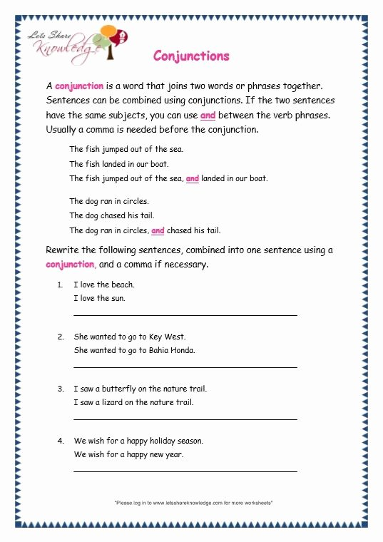 Conjunction Worksheets for Grade 3 Free Pin On School