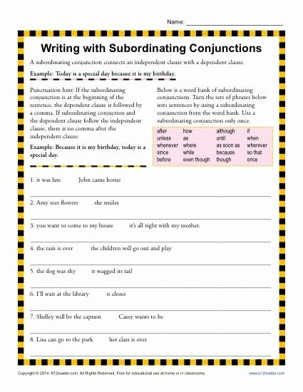 Conjunction Worksheets for Grade 3 Kids Writing with Subordinating Conjunctions