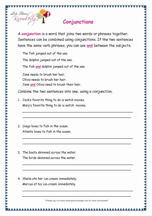 Conjunction Worksheets for Grade 3 Printable Page 4 Conjunctions Worksheet