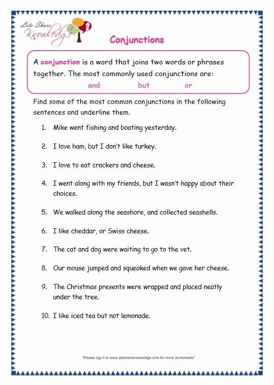Conjunctions Worksheets for Grade 3 Best Of Grade 3 Grammar topic 19 Conjunctions Worksheets Lets