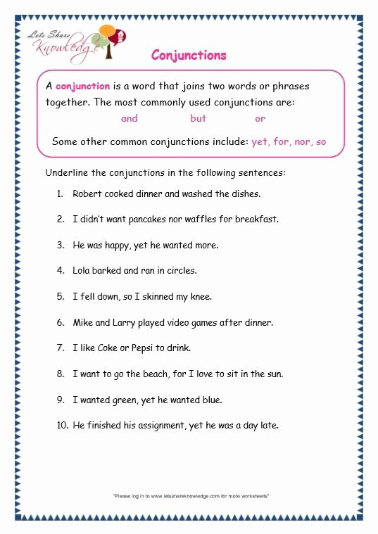 Conjunctions Worksheets for Grade 3 Fresh Pin On Worksheets