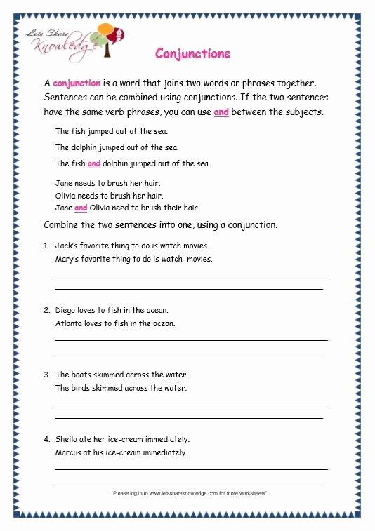 Conjunctions Worksheets for Grade 3 Printable Page 4 Conjunctions Worksheet