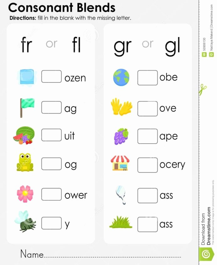 Consonant Blends Worksheets 3rd Grade top Consonant Blends Missing Letter Worksheet for Education