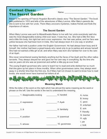 Context Clues 5th Grade Worksheets Lovely the Secret Garden