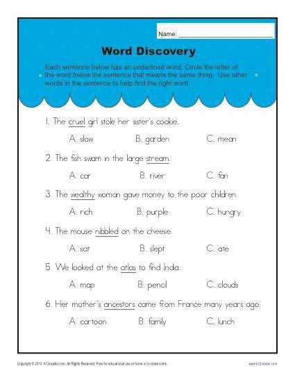 Context Clues Worksheets 1st Grade Inspirational Context Clues Worksheets for 2nd Grade Word Discovery
