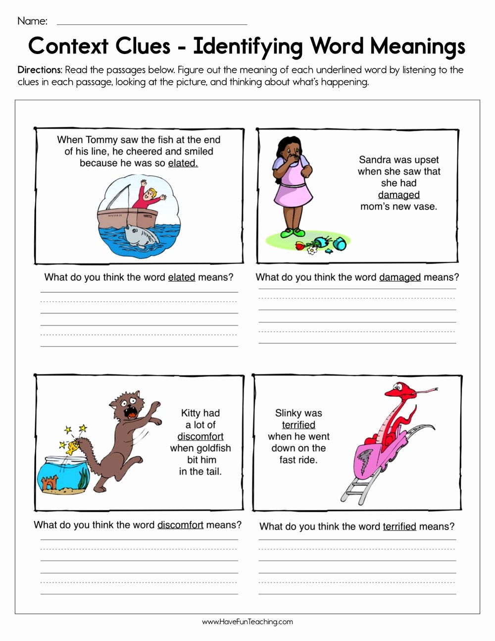 Context Clues Worksheets 1st Grade New Context Clues Identifying Word Meaning Worksheet
