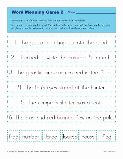Context Clues Worksheets 2nd Grade Inspirational Context Clues Worksheets for 1st Grade