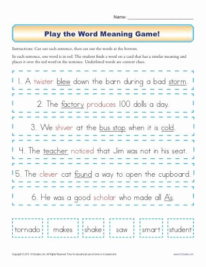 Context Clues Worksheets 2nd Grade Lovely Play the Word Meaning Game Context Clues Worksheets for 2nd