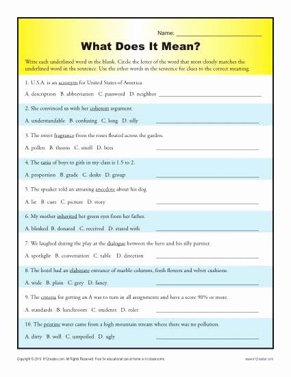 Context Clues Worksheets 6th Grade Inspirational What Does It Mean