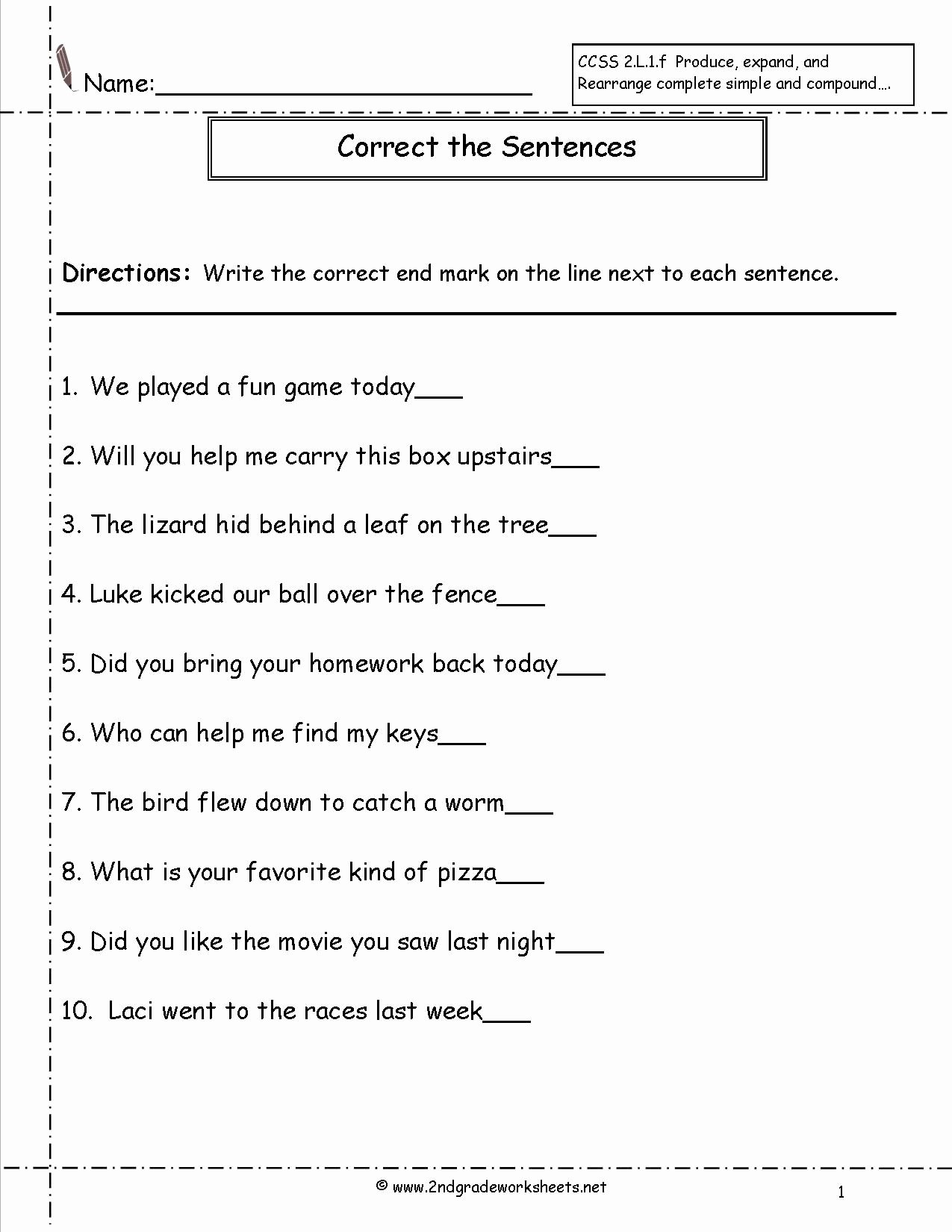 Context Clues Worksheets Second Grade Fresh Second Grade Sentences Worksheets Ccss 2 L 1 F Worksheets