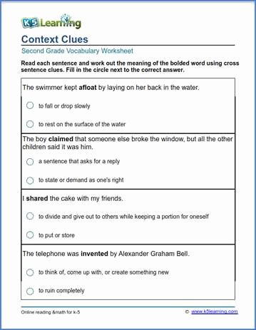 Context Clues Worksheets Second Grade New 2nd Grade Vocabulary Worksheets – Printable and organized by