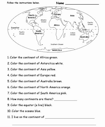Continents and Oceans Blank Worksheet Fresh Continents and Oceans Free Printables