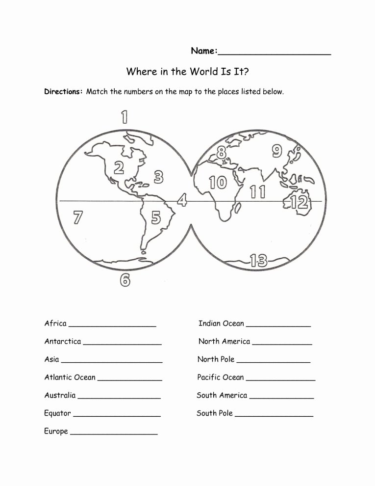 Continents and Oceans Printable Worksheets Best Of 10 7 Continents Worksheet 1st Grade Grade Printable