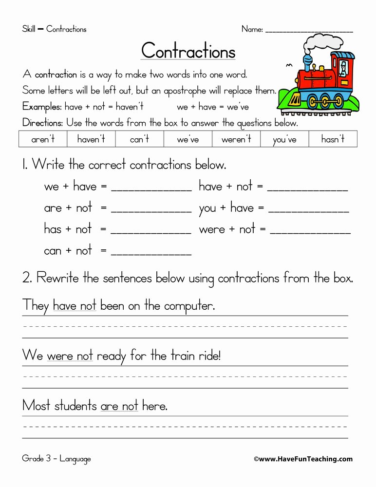 Contraction Worksheets for First Grade Kids Contractions Practice Worksheet