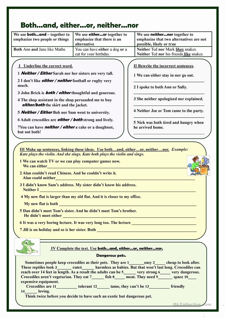 Correlative Conjunctions Worksheet 5th Grade Free Correlative Conjunctions Worksheet 5th Grade Both D Either