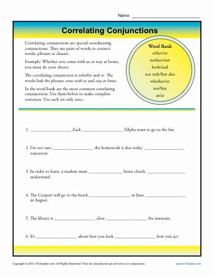 Correlative Conjunctions Worksheet 5th Grade Fresh Correlative Conjunctions Worksheet
