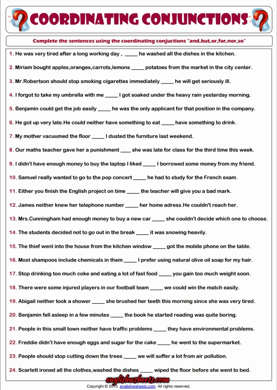 Correlative Conjunctions Worksheet 5th Grade Ideas Coordinating Conjunctions Esl Printable Grammar Worksheet