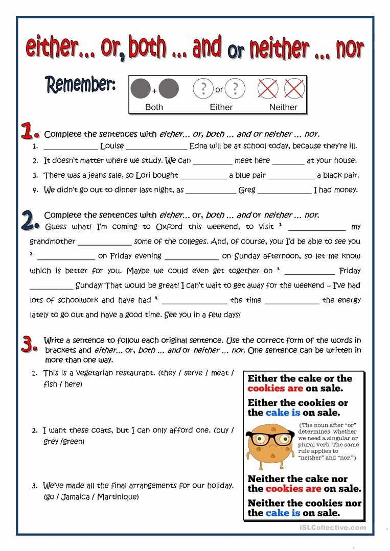 Correlative Conjunctions Worksheet 5th Grade Lovely Correlative Conjunctions Worksheet 5th Grade Both Either