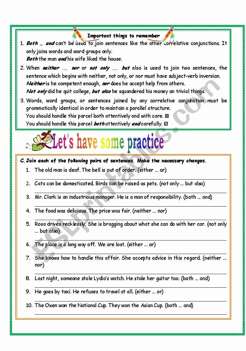Correlative Conjunctions Worksheet 5th Grade Lovely Correlative Conjunctions Worksheet 5th Grade Correlative