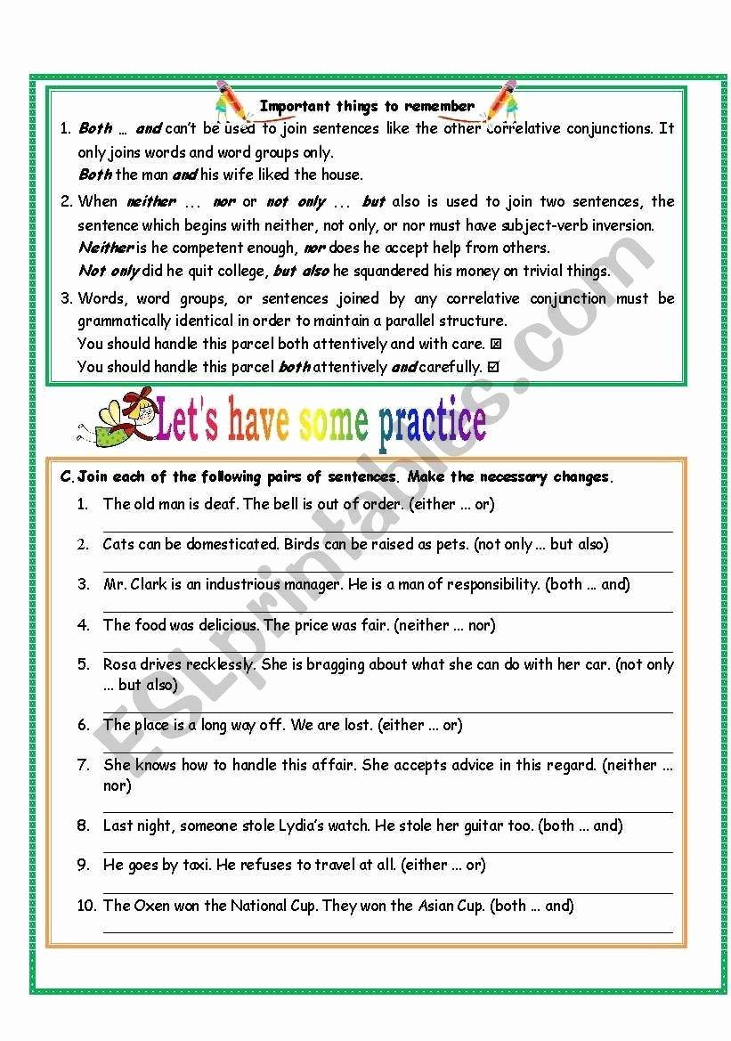 Correlative Conjunctions Worksheets with Answers Free Correlative Conjunctions Worksheet 5th Grade Correlative