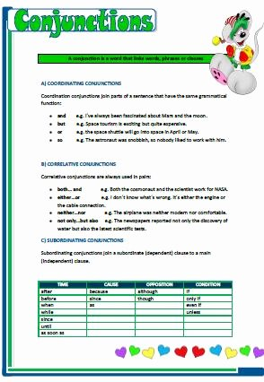 Correlative Conjunctions Worksheets with Answers Inspirational Coordinating Correlative and Subordinating Conjunctions