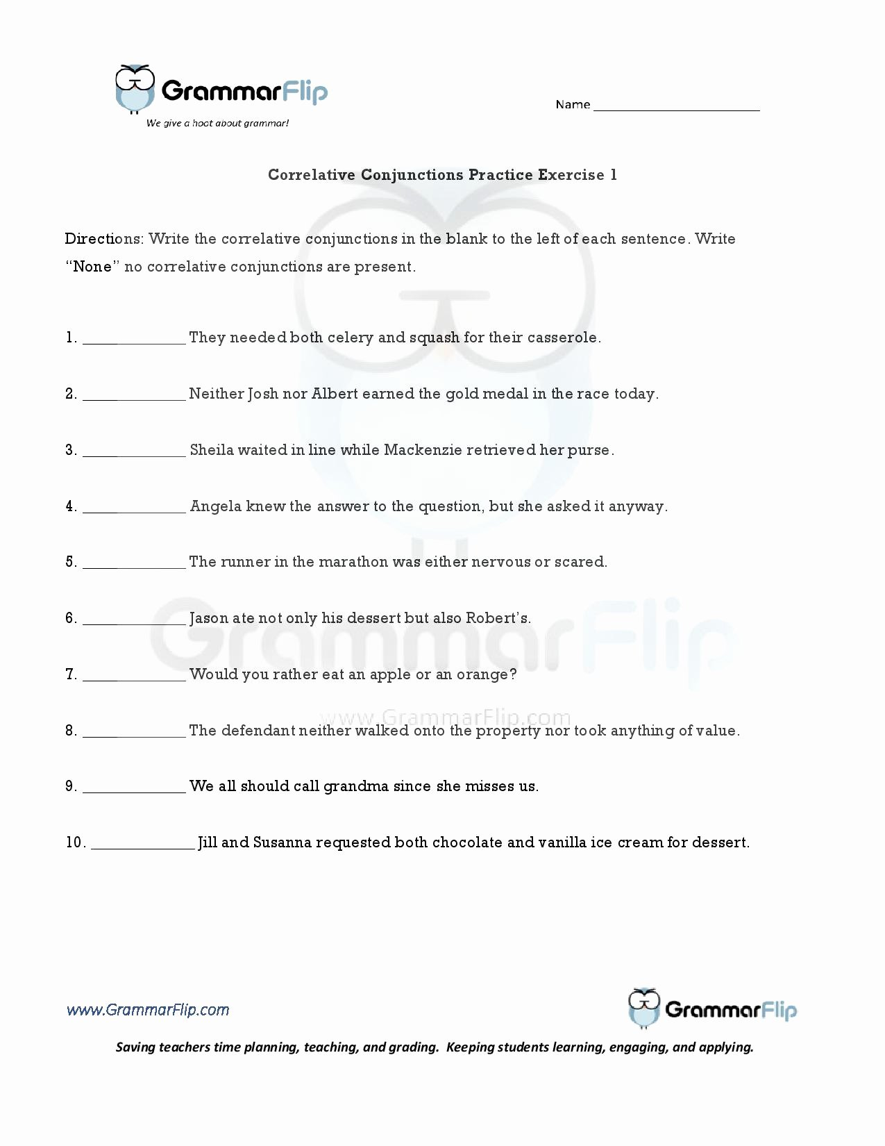 Correlative Conjunctions Worksheets with Answers Inspirational Correlative Conjunctions