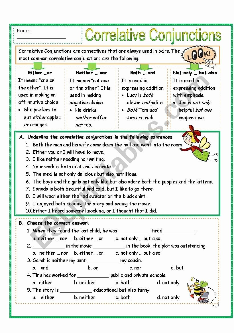Correlative Conjunctions Worksheets with Answers Printable Correlative Conjunctions Esl Worksheet by Missola