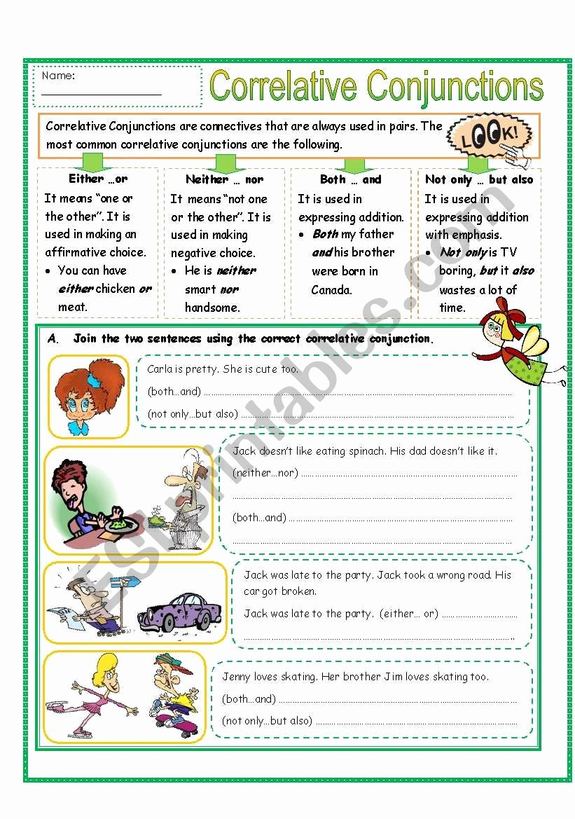 Correlative Conjunctions Worksheets with Answers Printable Correlative Conjunctions Part 2 Esl Worksheet by Missola