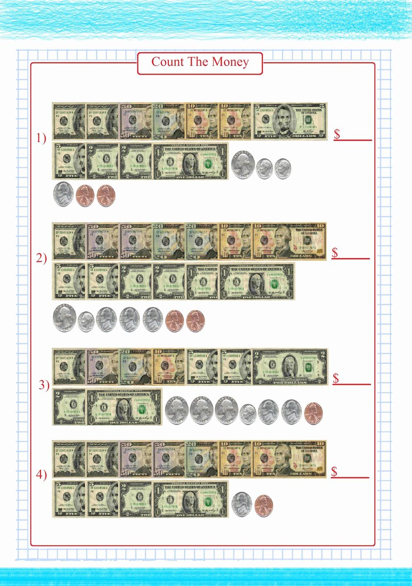 Counting Bills and Coins Worksheets Printable Count Money Bill and Coin Worksheets Free Math Worksheets