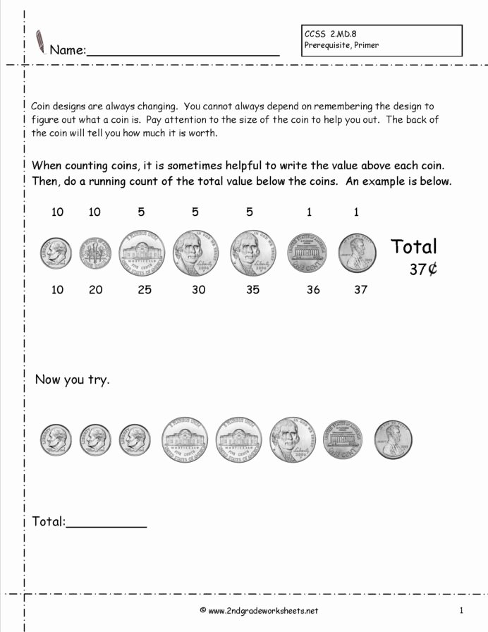 Counting Coins Worksheets 2nd Grade Lovely Counting Coins and Money Worksheets Printouts Coin
