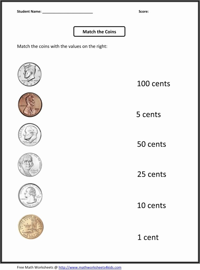 Counting Coins Worksheets First Grade Free Free 1st Grade Worksheets Match the Coins and Its Values