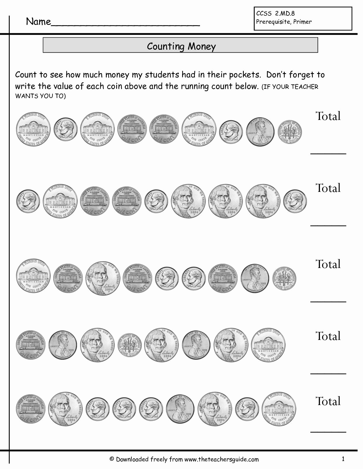 Counting Coins Worksheets First Grade Kids Counting Coins Worksheets From the Teacher S Guide