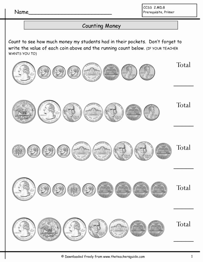 Counting Coins Worksheets First Grade Printable Counting Coins First Grade Lessons Tes Teach Worksheets 1st