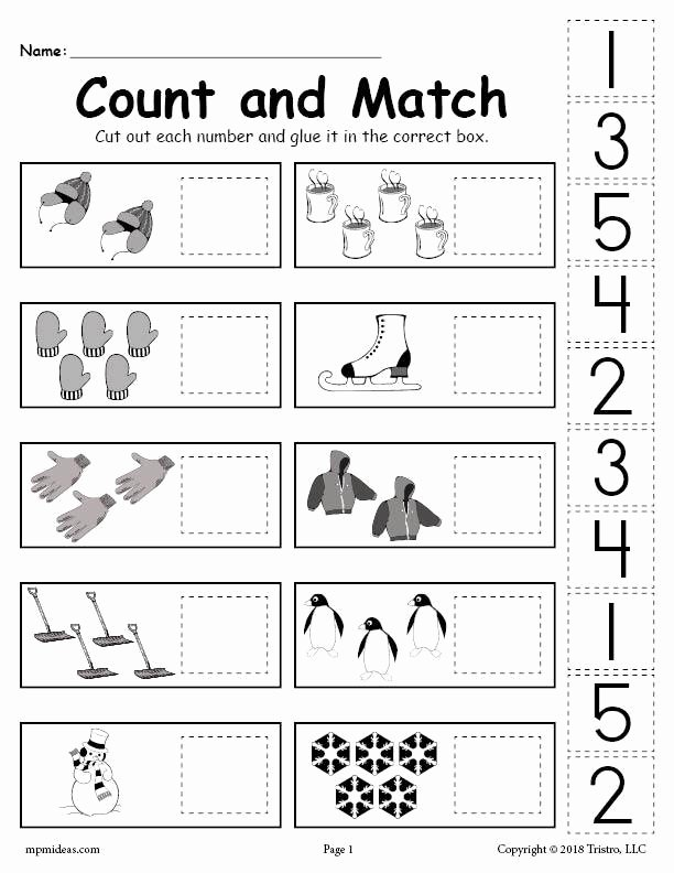 Counting Cut and Paste Worksheets Inspirational Printable Winter Counting and Matching Cut and Paste Worksheet