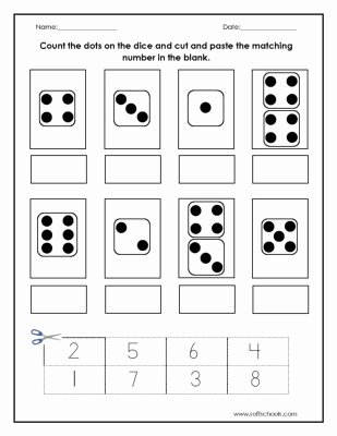 Counting Cut and Paste Worksheets Printable Count the Dots On the Dice and Cut and Paste the Matching