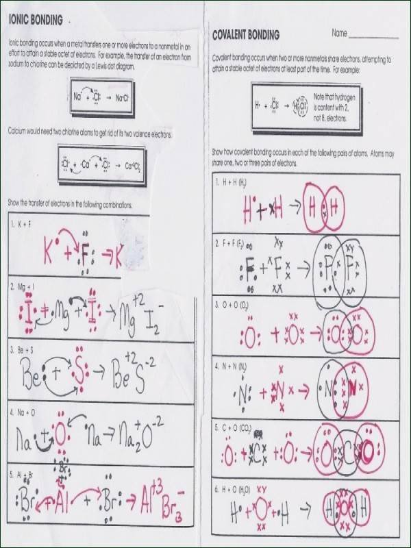 Covalent Bonding Worksheet Answer Key Printable Ionic and Covalent Bonds Worksheet Answers Worksheet List