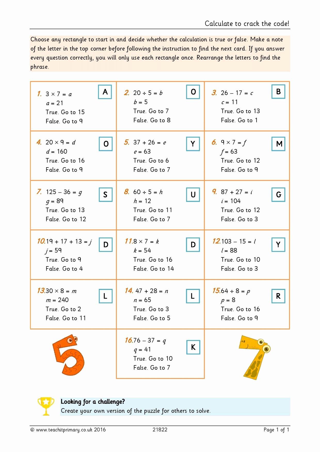 Crack the Code Math Worksheet Fresh Calculate to Crack the Code