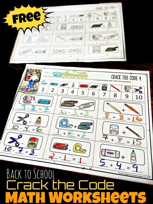 Crack the Code Math Worksheet Ideas Free Back to School Crack the Code Worksheets