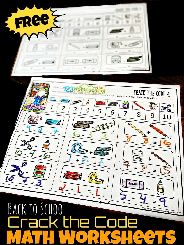 Crack the Code Math Worksheets Fresh Free Back to School Crack the Code Worksheets
