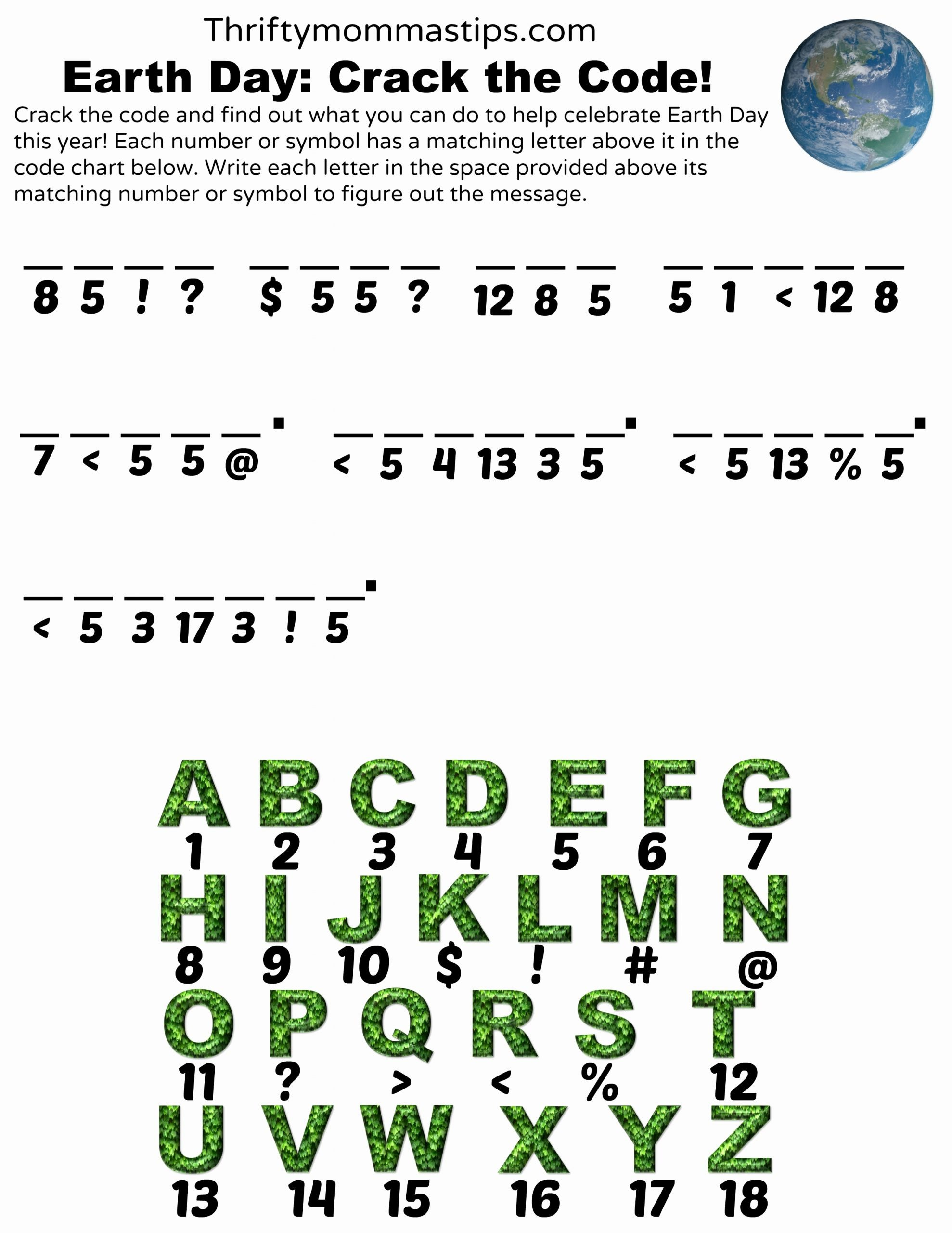 Crack the Code Worksheets Printable Lovely Earth Day Crack the Code Printable Thrifty Mommas Tips