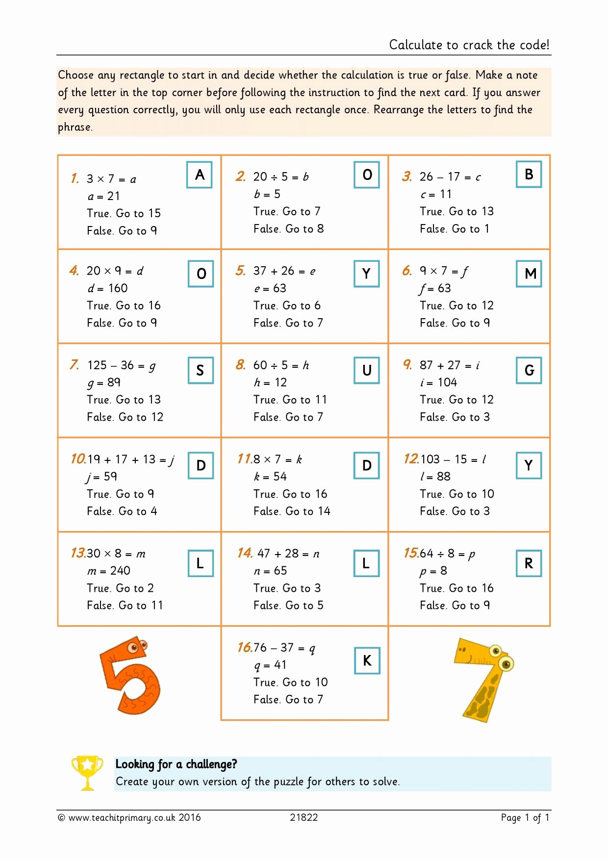 Cracking the Code Math Worksheets Kids Calculate to Crack the Code
