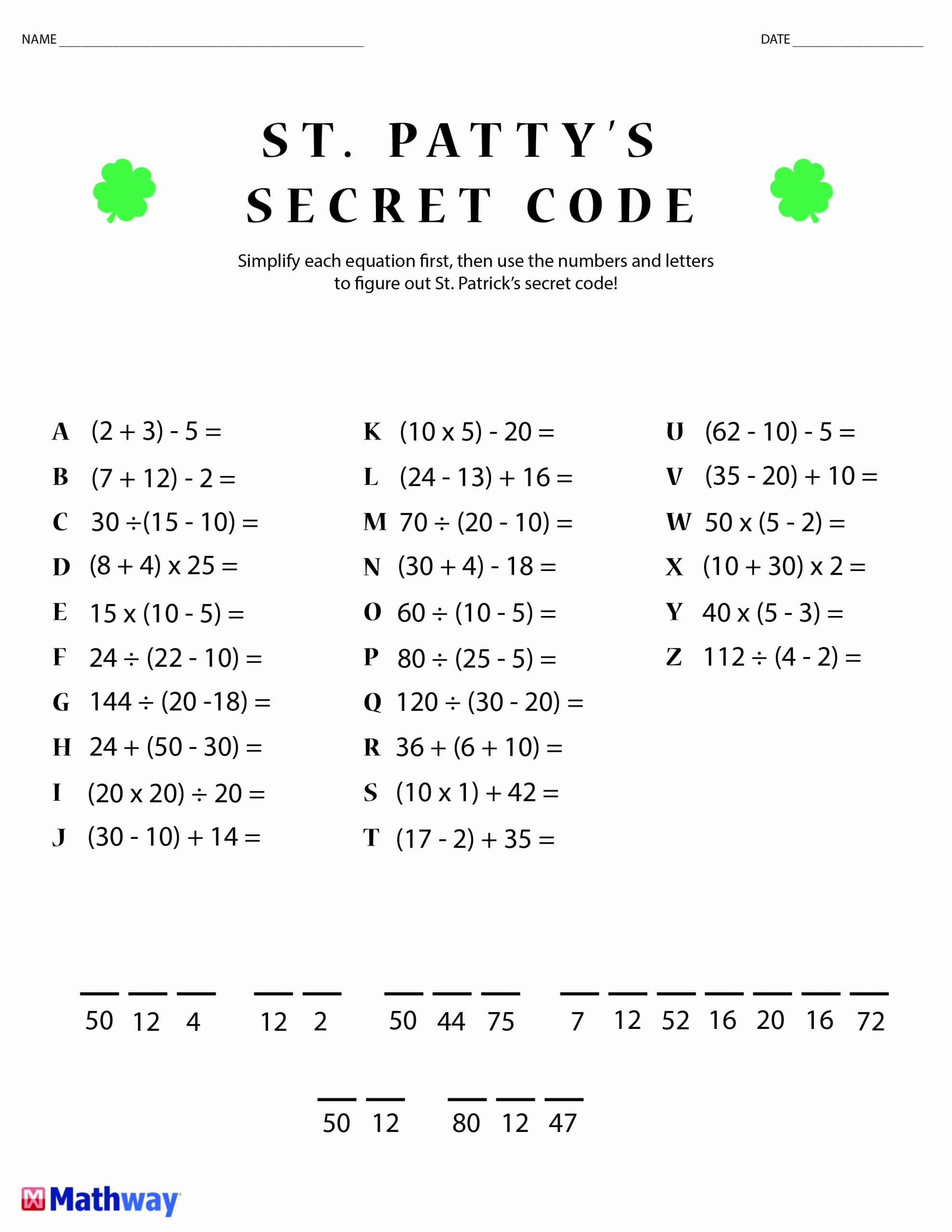 Cracking the Code Math Worksheets New Math Code Breakers Worksheets