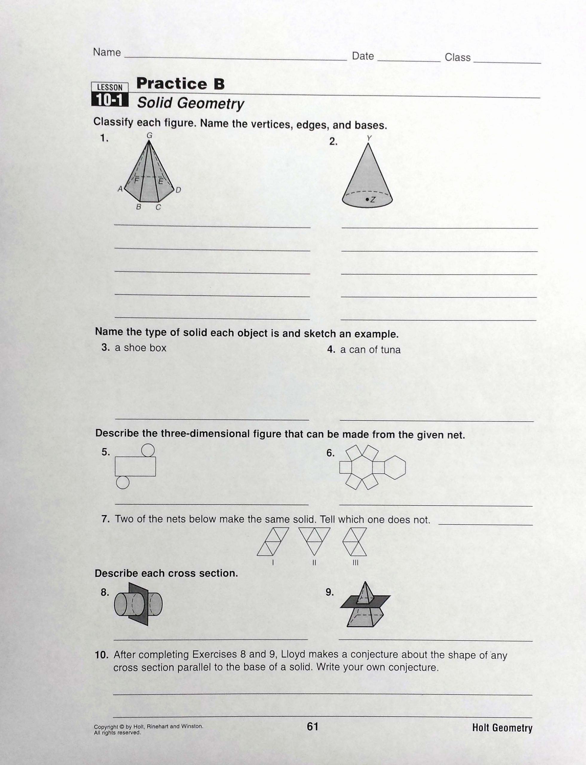 Cross Section Worksheet 7th Grade Printable Easy Cross Section Geometry Worksheet