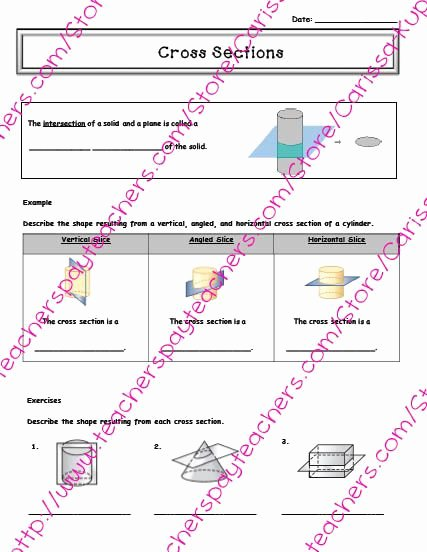 Cross Sections Worksheet 7th Grade Free Cross Sections Guided Notes 7th Grade Math