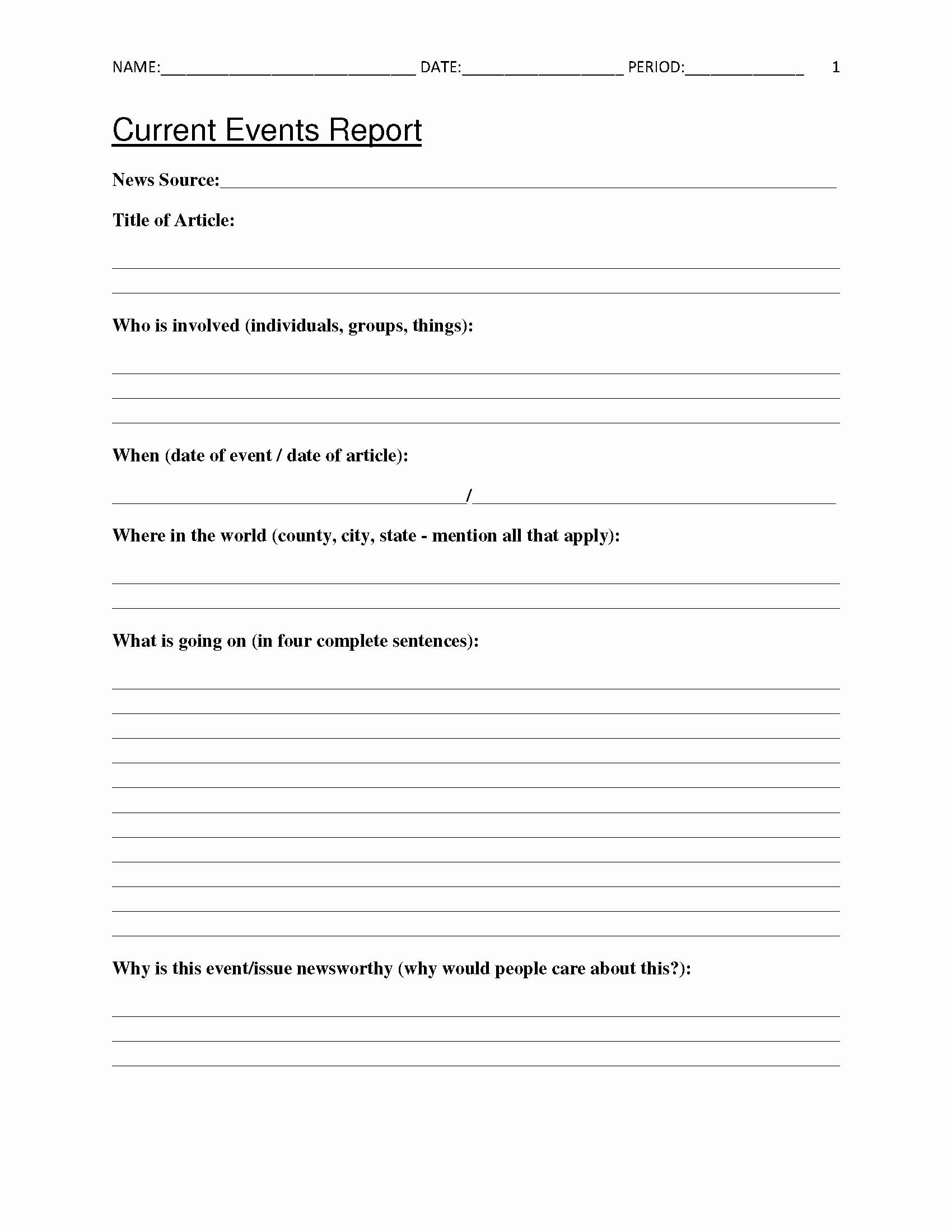 Current event Worksheet High School Best Of Free Current events Report Worksheet for Classroom Teachers