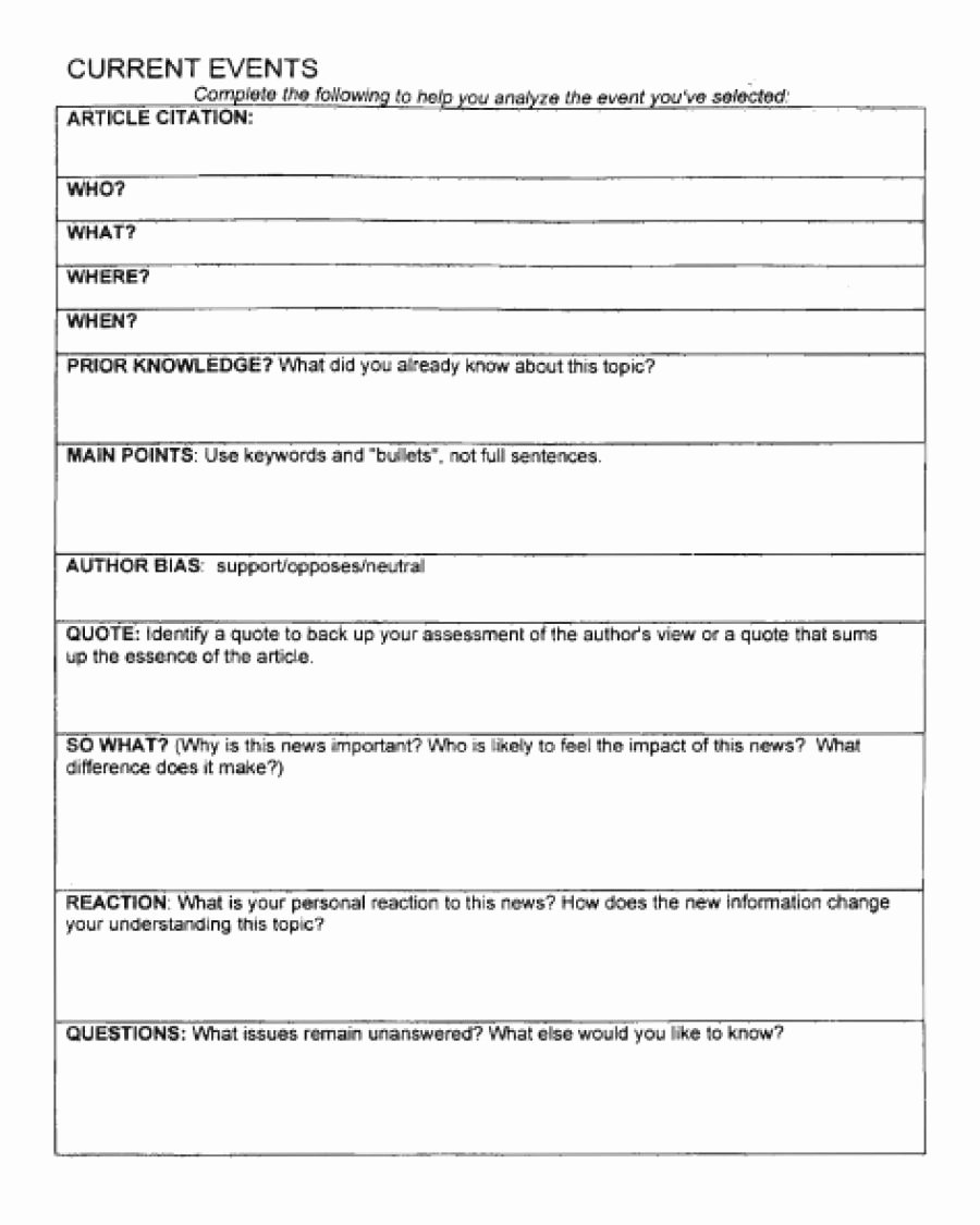 Current event Worksheet High School Inspirational Current event Outline