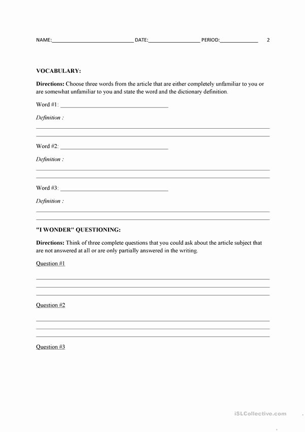 Current event Worksheet High School Printable Current events Template English Esl Worksheets for